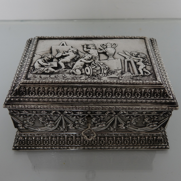 Antique Silver French Jewellery Casket Circa 1880 Paul Bennett