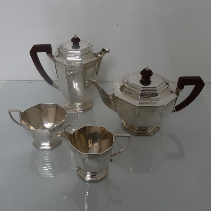Art Deco Sterling Silver George Vi Four Piece Tea Amp Coffee