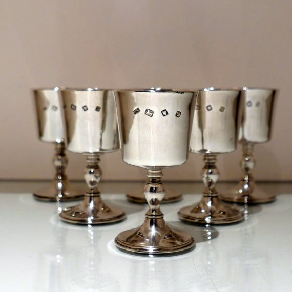 six wine goblets